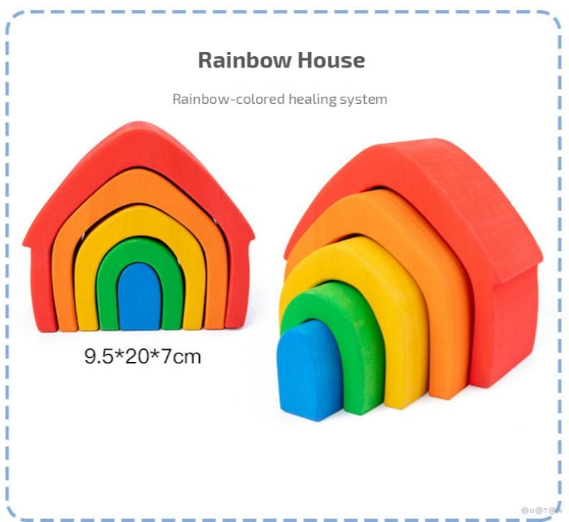 Wooden Rainbow Building Blocks - Nature Theme