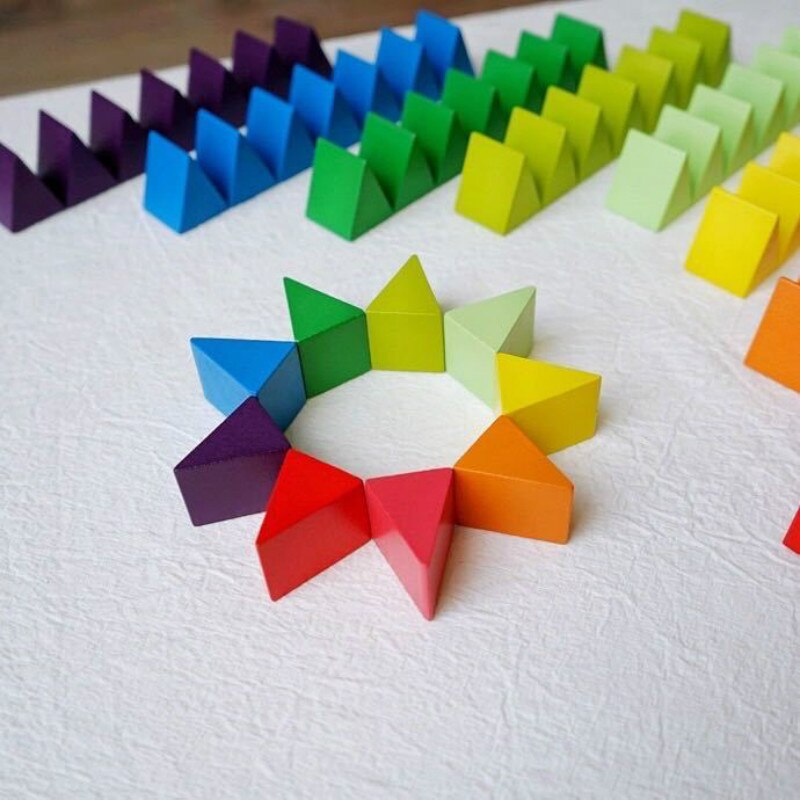 Wooden Triangle Rainbow Building Blocks & Stackers