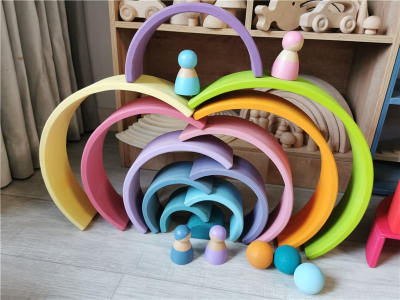 Large Wooden Rainbow Building Blocks & Wooden Balls