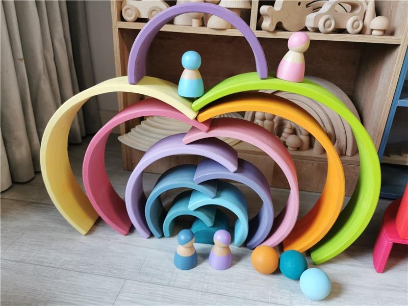 Large Wooden Rainbow Building Blocks & Wooden Balls